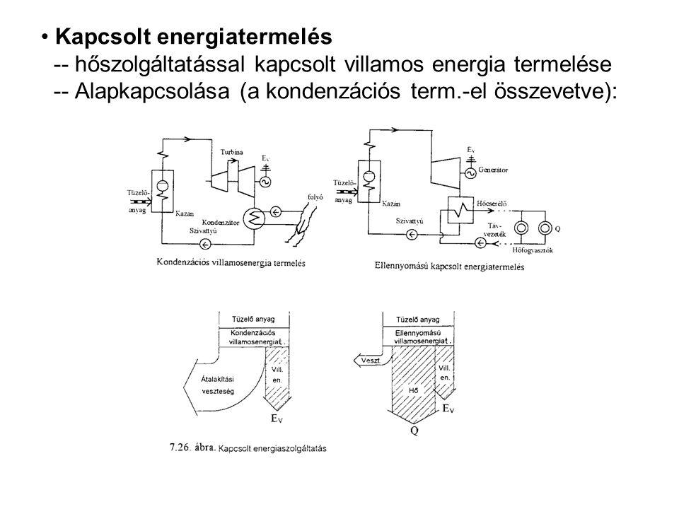 Kapcsolt energiatermelés -- hőszolgáltatással kapcsolt villamos energia termelése -- Alapkapcsolása (a kondenzációs term.-el összevetve):