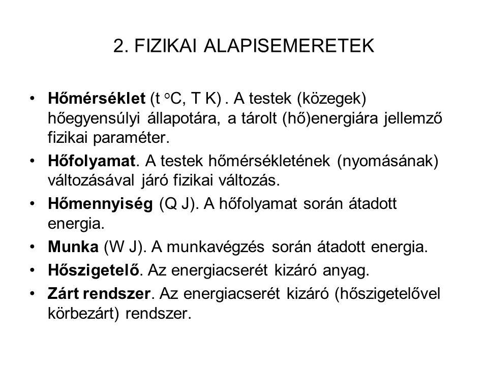 2.FIZIKAI ALAPISEMERETEK Hőmérséklet (t o C, T K).