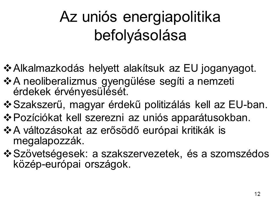 12 Az uniós energiapolitika befolyásolása  Alkalmazkodás helyett alakítsuk az EU joganyagot.