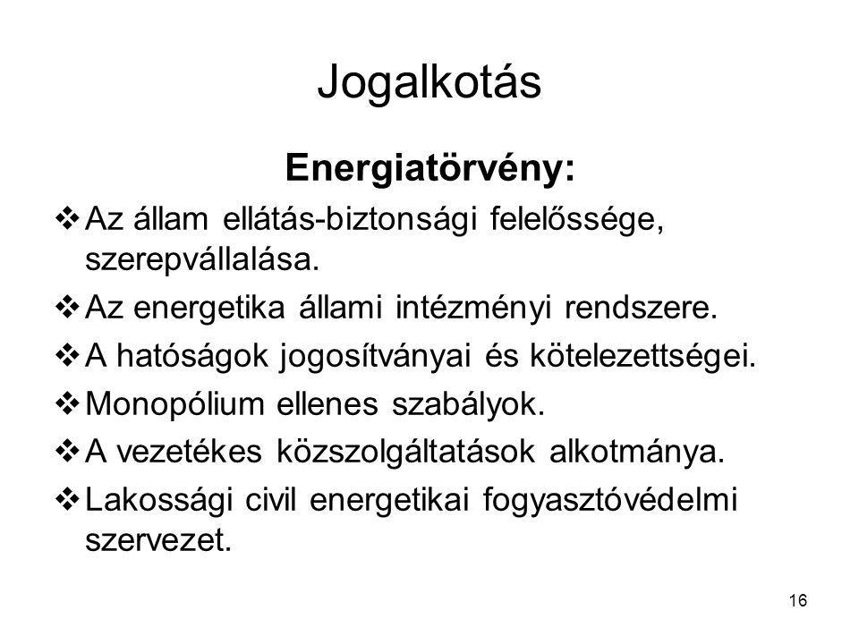 16 Jogalkotás Energiatörvény:  Az állam ellátás-biztonsági felelőssége, szerepvállalása.