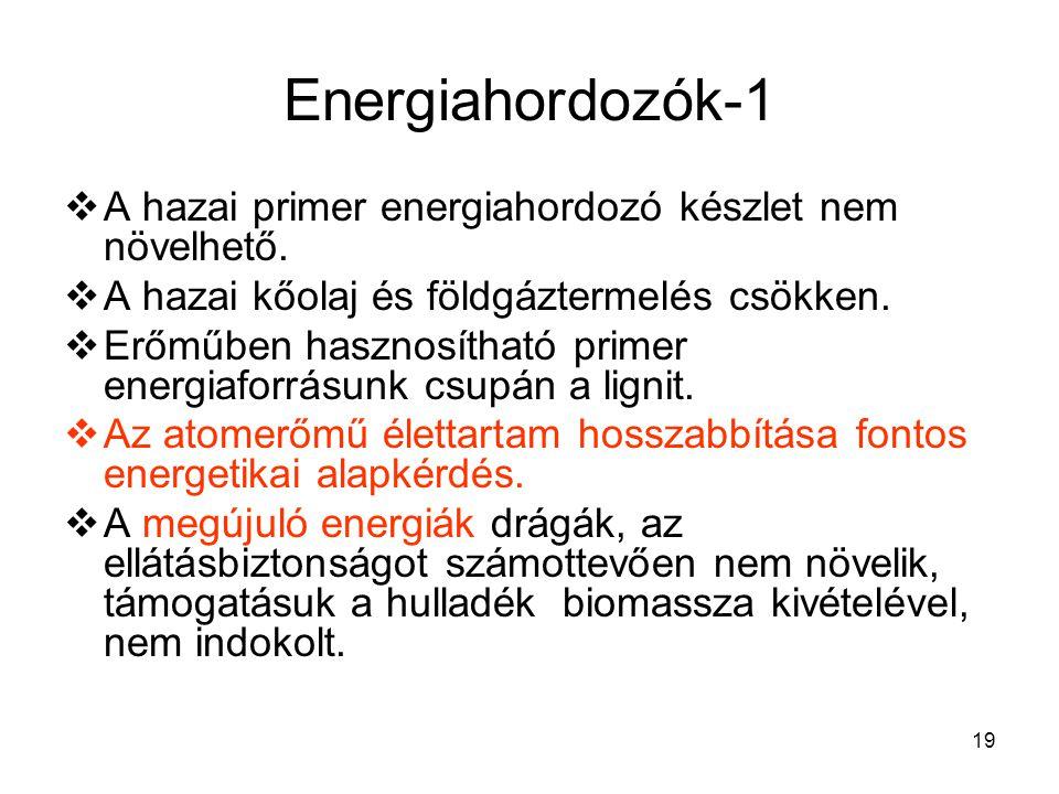 19 Energiahordozók-1  A hazai primer energiahordozó készlet nem növelhető.