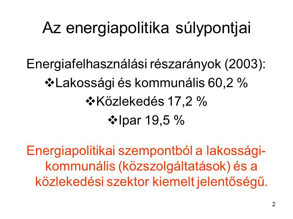 2 Az energiapolitika súlypontjai Energiafelhasználási részarányok (2003):  Lakossági és kommunális 60,2 %  Közlekedés 17,2 %  Ipar 19,5 % Energiapolitikai szempontból a lakossági- kommunális (közszolgáltatások) és a közlekedési szektor kiemelt jelentőségű.