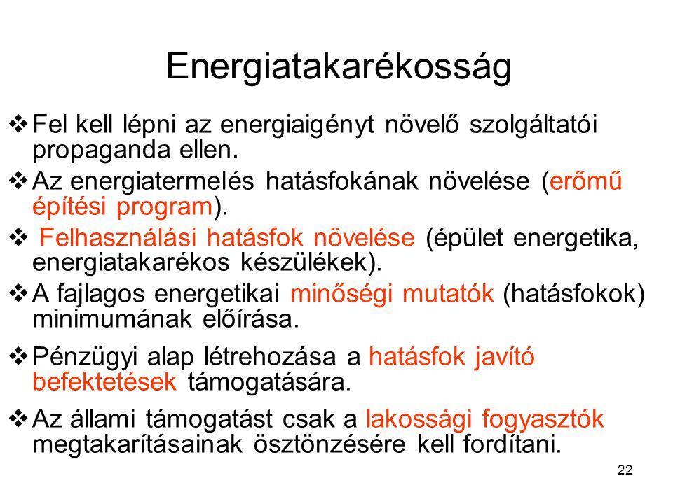 22 Energiatakarékosság  Fel kell lépni az energiaigényt növelő szolgáltatói propaganda ellen.