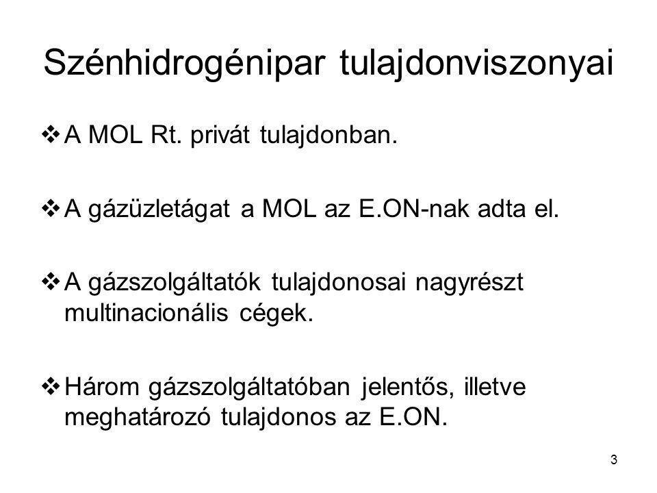 3 Szénhidrogénipar tulajdonviszonyai  A MOL Rt. privát tulajdonban.