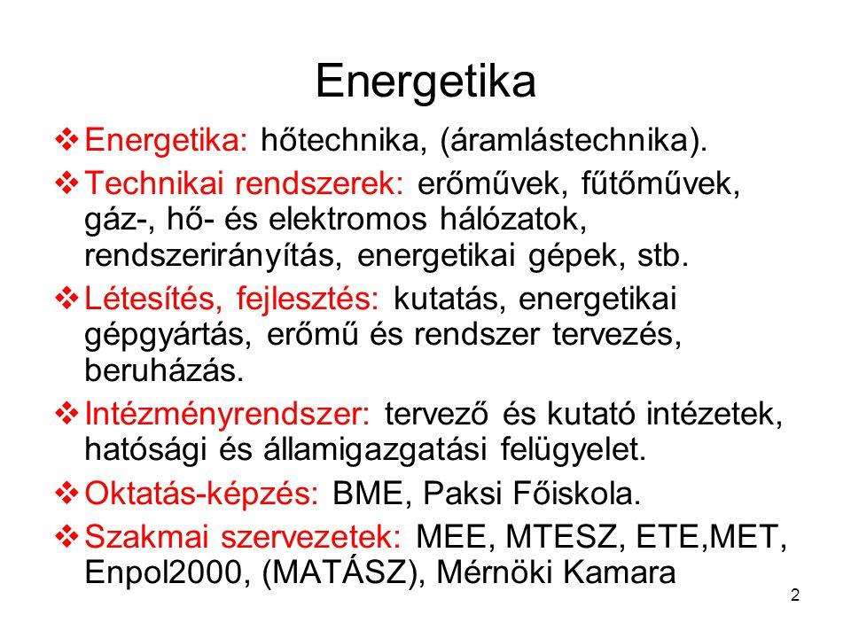 2 Energetika  Energetika: hőtechnika, (áramlástechnika).  Technikai rendszerek: erőművek, fűtőművek, gáz-, hő- és elektromos hálózatok, rendszerirán