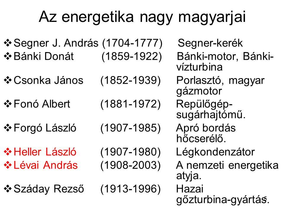 5 Az energetika nagy magyarjai  Segner J. András (1704-1777) Segner-kerék  Bánki Donát (1859-1922) Bánki-motor, Bánki- vízturbina  Csonka János (18