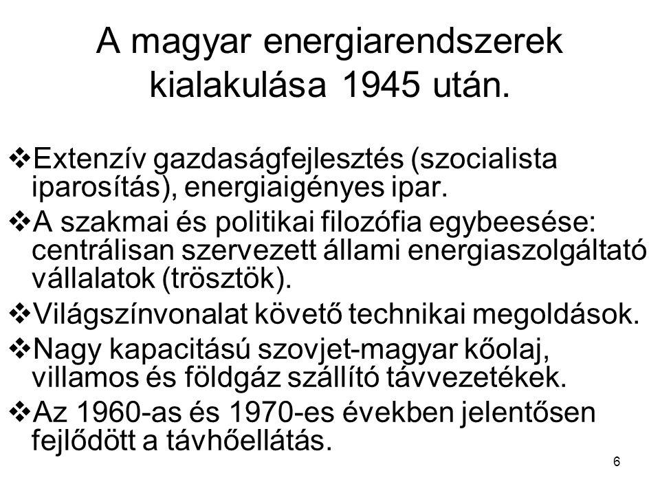 6 A magyar energiarendszerek kialakulása 1945 után.