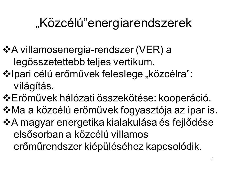 """7  A villamosenergia-rendszer (VER) a legösszetettebb teljes vertikum.  Ipari célú erőművek feleslege """"közcélra"""": világítás.  Erőművek hálózati öss"""