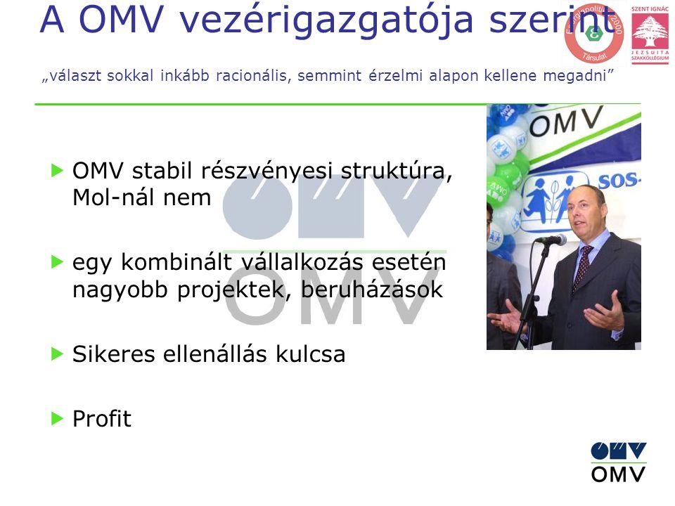 """A OMV vezérigazgatója szerint """"választ sokkal inkább racionális, semmint érzelmi alapon kellene megadni  OMV stabil részvényesi struktúra, Mol-nál nem  egy kombinált vállalkozás esetén nagyobb projektek, beruházások  Sikeres ellenállás kulcsa  Profit"""
