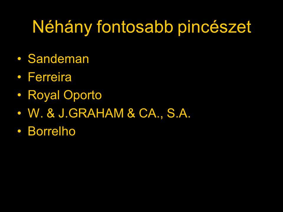 Néhány fontosabb pincészet Sandeman Ferreira Royal Oporto W. & J.GRAHAM & CA., S.A. Borrelho