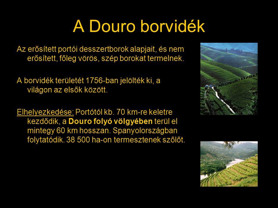 A Douro borvidék Az erősített portói desszertborok alapjait, és nem erősített, főleg vörös, szép borokat termelnek. A borvidék területét 1756-ban jelö