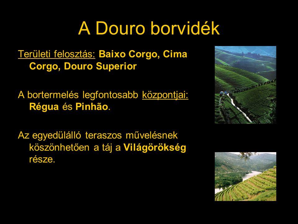 A Douro borvidék Területi felosztás: Baixo Corgo, Cima Corgo, Douro Superior A bortermelés legfontosabb központjai: Régua és Pinhão. Az egyedülálló te