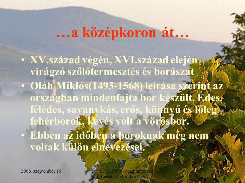2008. szeptember 16.In Vino Cultura - Magyarország borászata I. (Múlt és jelen) 7 …a középkoron át… XV.század végén, XVI.század elején virágzó szőlőte