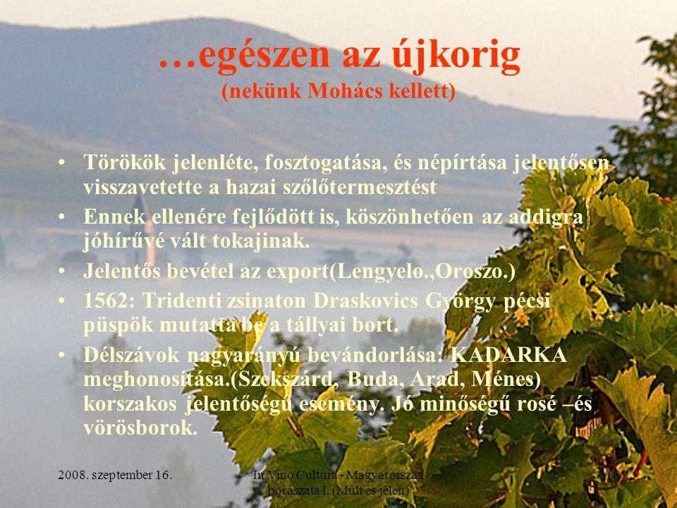 2008. szeptember 16.In Vino Cultura - Magyarország borászata I. (Múlt és jelen) 8 …egészen az újkorig (nekünk Mohács kellett) Törökök jelenléte, foszt