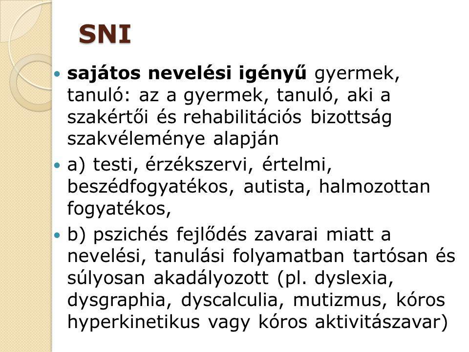 SNI sajátos nevelési igényű gyermek, tanuló: az a gyermek, tanuló, aki a szakértői és rehabilitációs bizottság szakvéleménye alapján a) testi, érzéksz