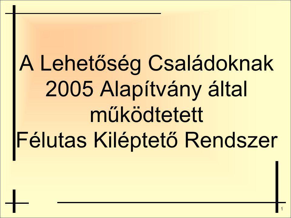 1 A Lehetőség Családoknak 2005 Alapítvány által működtetett Félutas Kiléptető Rendszer