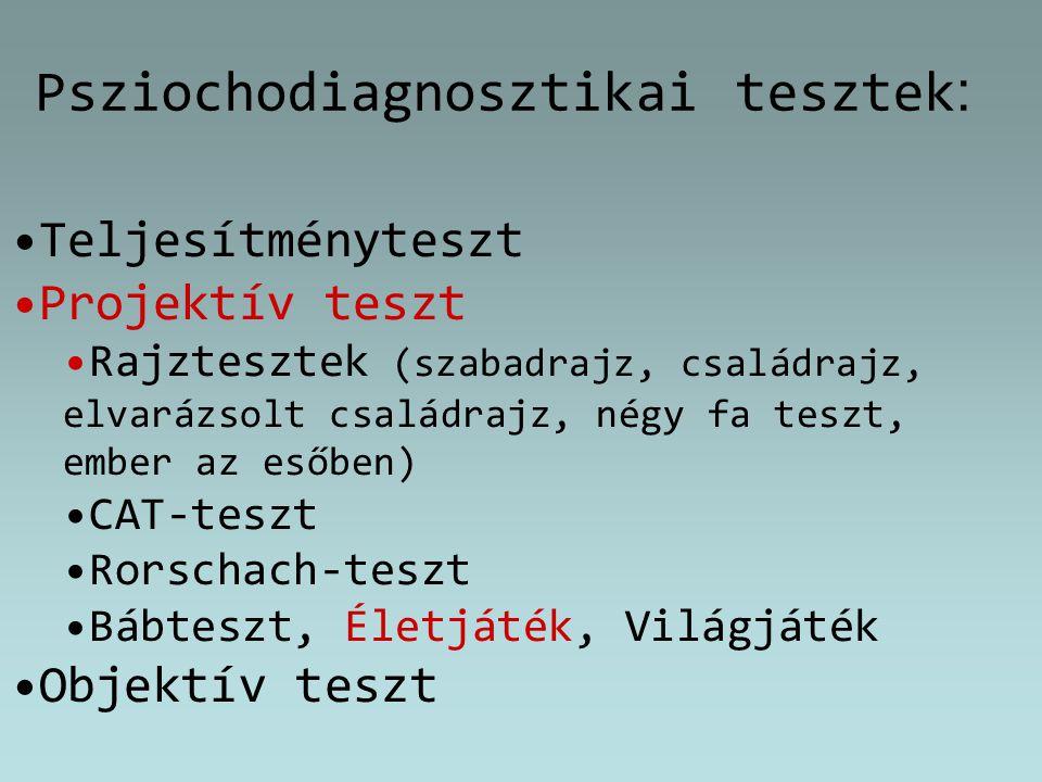 Psziochodiagnosztikai tesztek : Teljesítményteszt Projektív teszt Rajztesztek (szabadrajz, családrajz, elvarázsolt családrajz, négy fa teszt, ember az
