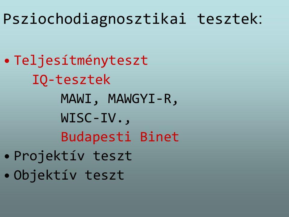 Psziochodiagnosztikai tesztek : Teljesítményteszt IQ-tesztek MAWI, MAWGYI-R, WISC-IV., Budapesti Binet Projektív teszt Objektív teszt