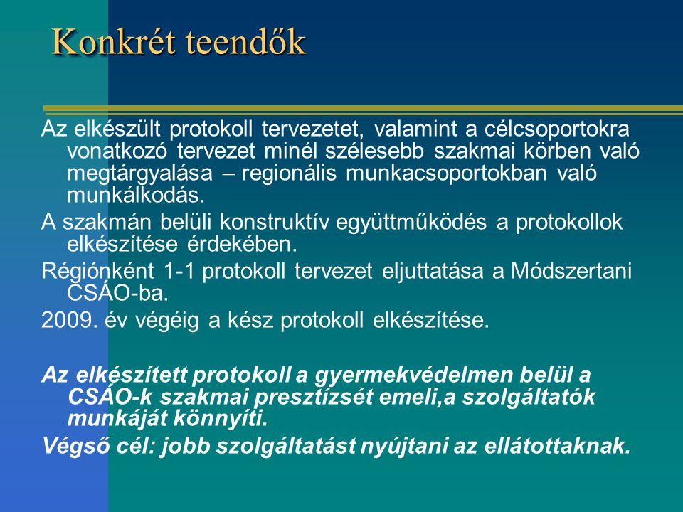 Konkrét teendők Az elkészült protokoll tervezetet, valamint a célcsoportokra vonatkozó tervezet minél szélesebb szakmai körben való megtárgyalása – regionális munkacsoportokban való munkálkodás.