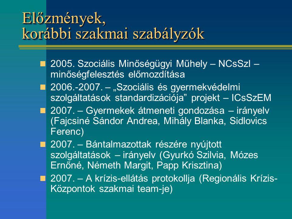 """Előzmények, korábbi szakmai szabályzók 2005. Szociális Minőségügyi Műhely – NCsSzI – minőségfelesztés előmozdítása 2006.-2007. – """"Szociális és gyermek"""