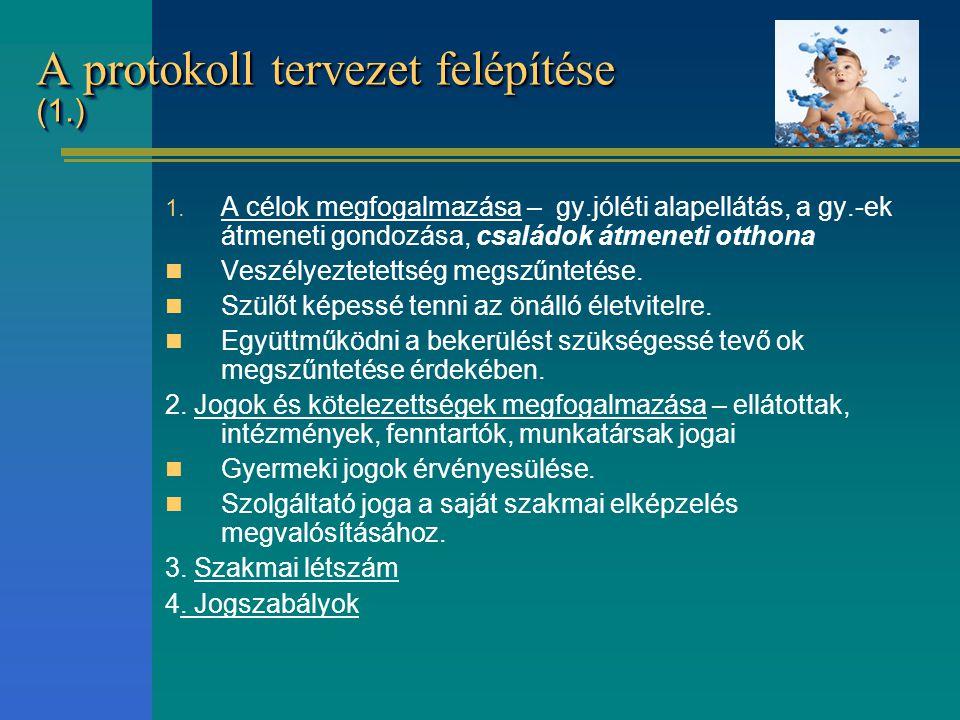 A protokoll tervezet felépítése (1.) 1. A célok megfogalmazása – gy.jóléti alapellátás, a gy.-ek átmeneti gondozása, családok átmeneti otthona Veszély