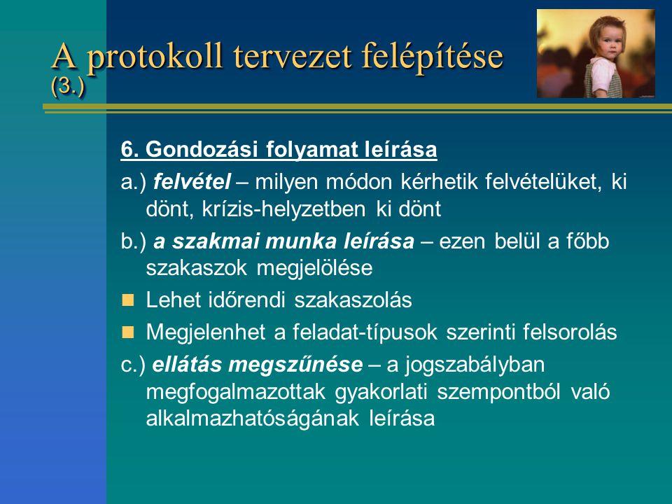 A protokoll tervezet felépítése (3.) 6. Gondozási folyamat leírása a.) felvétel – milyen módon kérhetik felvételüket, ki dönt, krízis-helyzetben ki dö