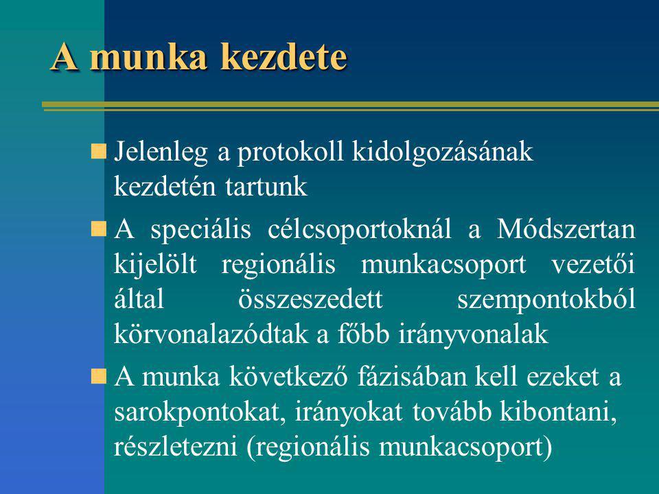 A munka kezdete Jelenleg a protokoll kidolgozásának kezdetén tartunk A speciális célcsoportoknál a Módszertan kijelölt regionális munkacsoport vezetői által összeszedett szempontokból körvonalazódtak a főbb irányvonalak A munka következő fázisában kell ezeket a sarokpontokat, irányokat tovább kibontani, részletezni (regionális munkacsoport)