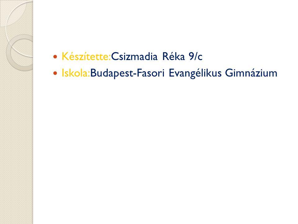 Készítette:Csizmadia Réka 9/c Iskola:Budapest-Fasori Evangélikus Gimnázium