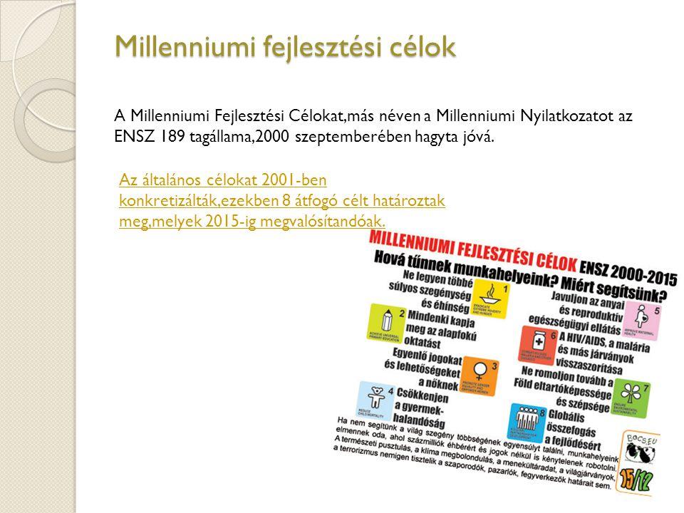 Millenniumi fejlesztési célok A Millenniumi Fejlesztési Célokat,más néven a Millenniumi Nyilatkozatot az ENSZ 189 tagállama,2000 szeptemberében hagyta