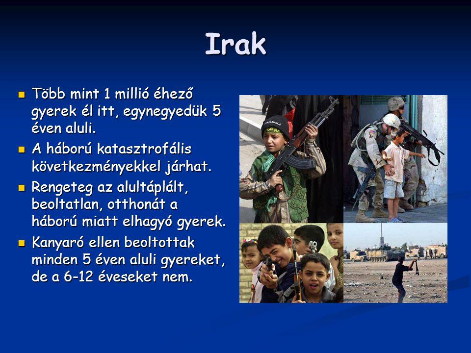 Irak Több mint 1 millió éhező gyerek él itt, egynegyedük 5 éven aluli. Több mint 1 millió éhező gyerek él itt, egynegyedük 5 éven aluli. A háború kata