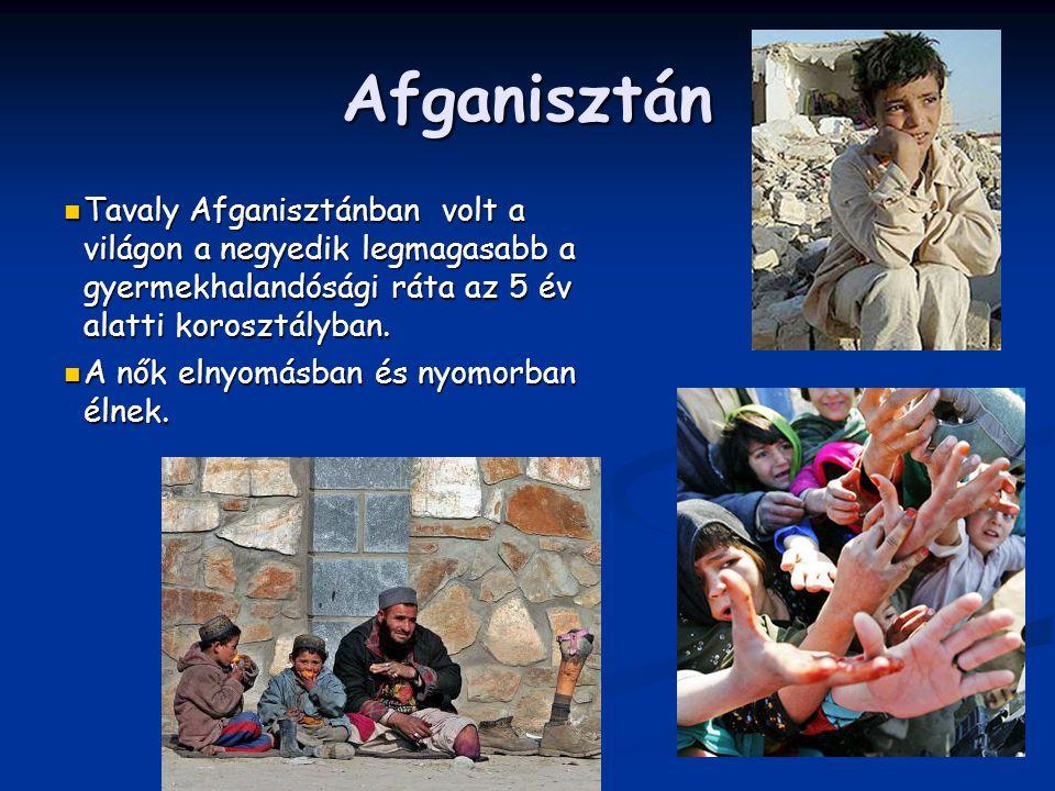 Afganisztán Tavaly Afganisztánban volt a világon a negyedik legmagasabb a gyermekhalandósági ráta az 5 év alatti korosztályban. Tavaly Afganisztánban