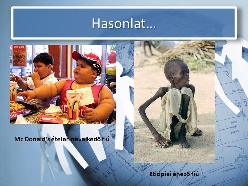 Hasonlat… Mc Donald's ételen nevelkedő fiú Etiópiai éhező fiú