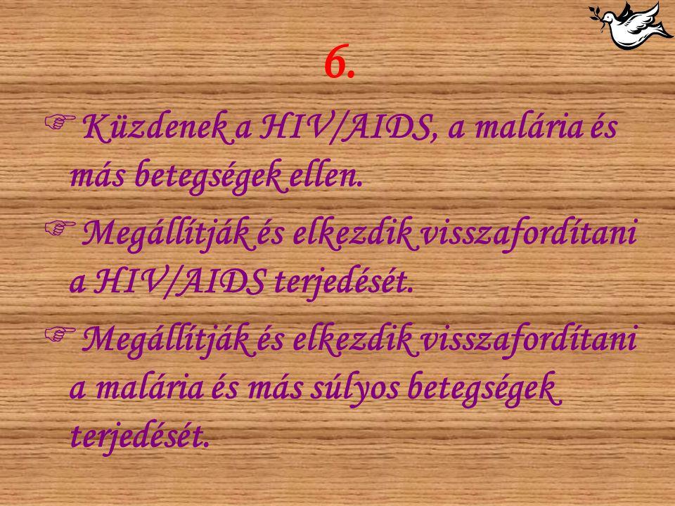 6.  Küzdenek a HIV/AIDS, a malária és más betegségek ellen.