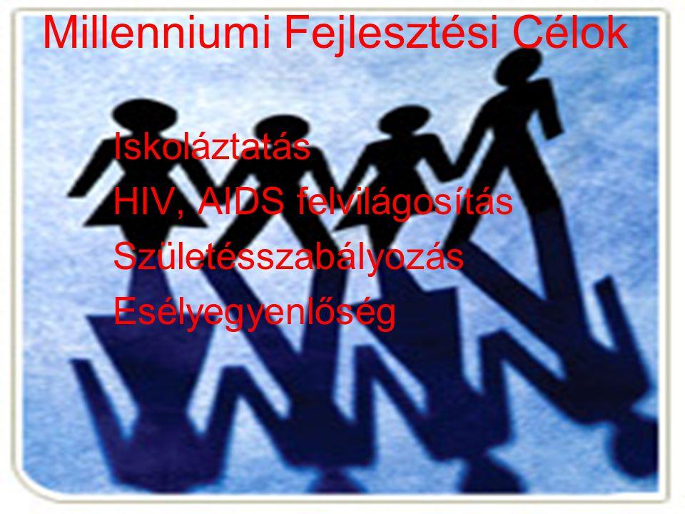 Millenniumi Fejlesztési Célok Iskoláztatás HIV, AIDS felvilágosítás Születésszabályozás Esélyegyenlőség