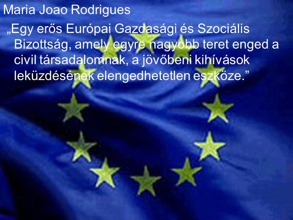 """Maria Joao Rodrigues """"Egy erős Európai Gazdasági és Szociális Bizottság, amely egyre nagyobb teret enged a civil társadalomnak, a jövőbeni kihívások leküzdésének elengedhetetlen eszköze."""