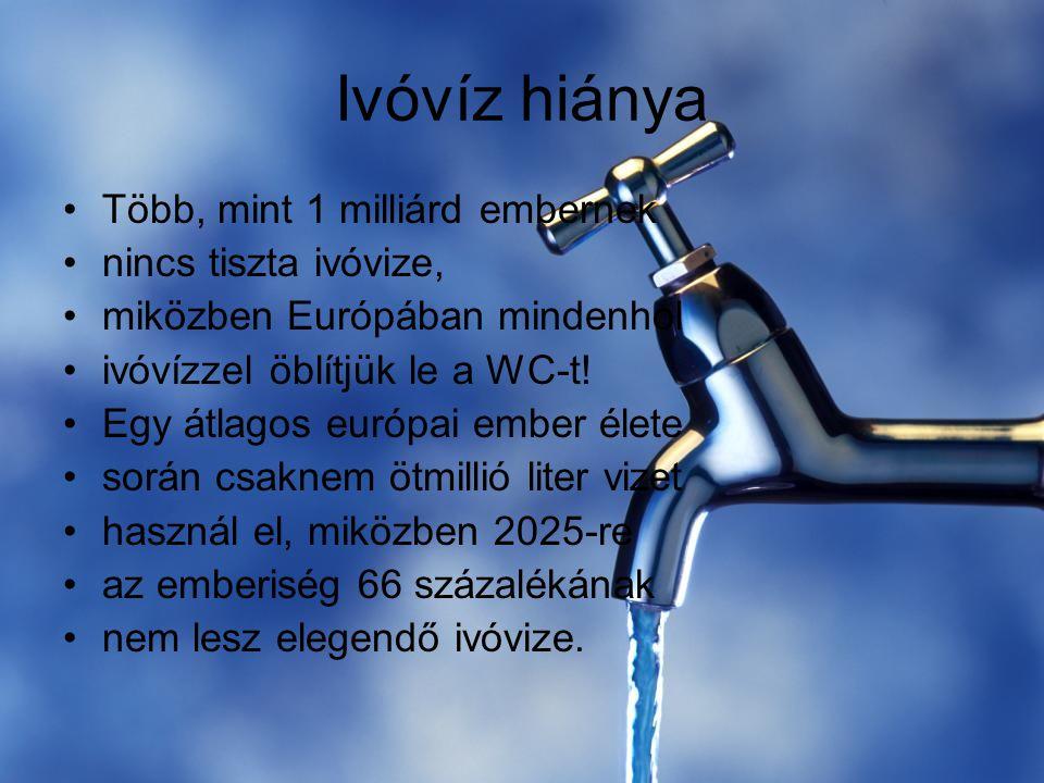 Ivóvíz hiánya Több, mint 1 milliárd embernek nincs tiszta ivóvize, miközben Európában mindenhol ivóvízzel öblítjük le a WC-t! Egy átlagos európai embe