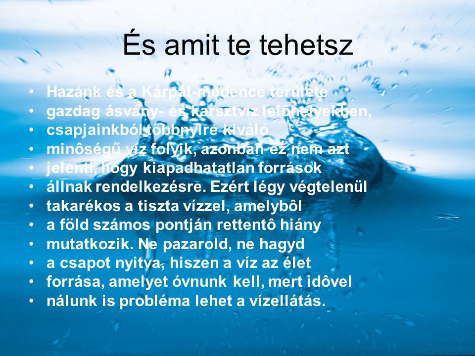 És amit te tehetsz Hazánk és a Kárpát-medence területe gazdag ásvány- és karsztvíz lelôhelyekben, csapjainkból többnyire kiváló minôségű víz folyik, a