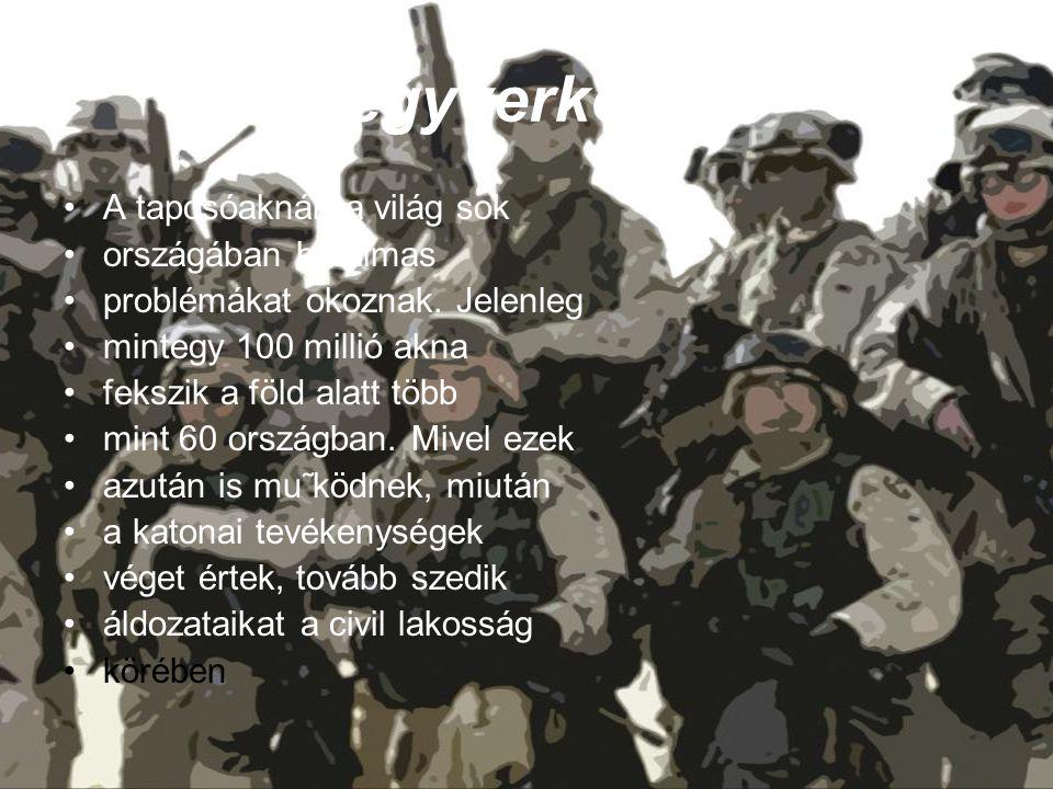 fegyverkezés A taposóaknák a világ sok országában hatalmas problémákat okoznak. Jelenleg mintegy 100 millió akna fekszik a föld alatt több mint 60 ors
