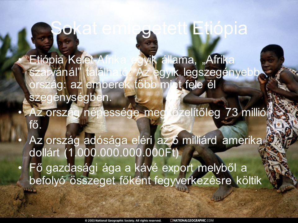"""Sokat emlegetett Etiópia Etiópia Kelet-Afrika egyik állama, """"Afrika szarvánál"""" található. Az egyik legszegényebb ország: az emberek több mint fele él"""