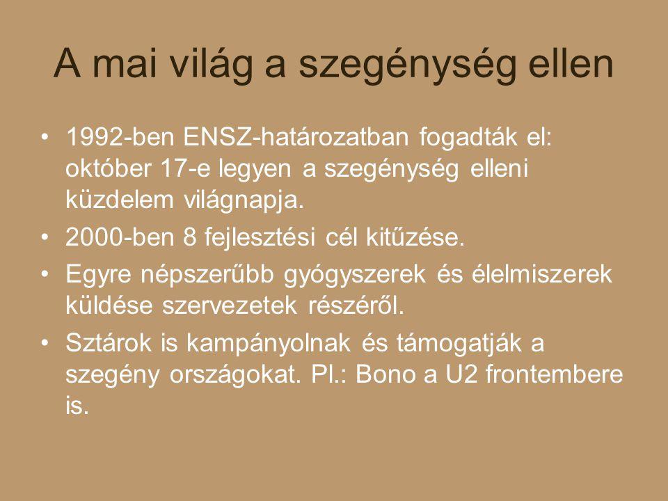 A mai világ a szegénység ellen 1992-ben ENSZ-határozatban fogadták el: október 17-e legyen a szegénység elleni küzdelem világnapja. 2000-ben 8 fejlesz