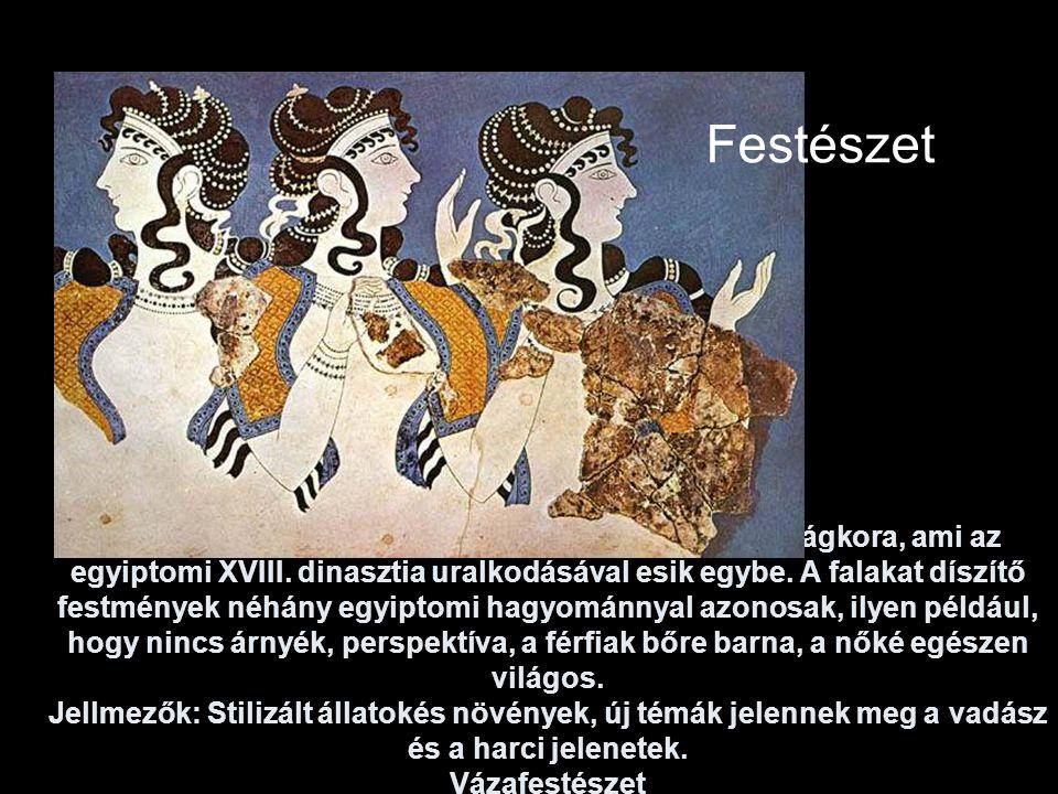 A kései minószi kor (i. e. 1750-1400) Knósszosz virágkora, ami az egyiptomi XVIII. dinasztia uralkodásával esik egybe. A falakat díszítő festmények né