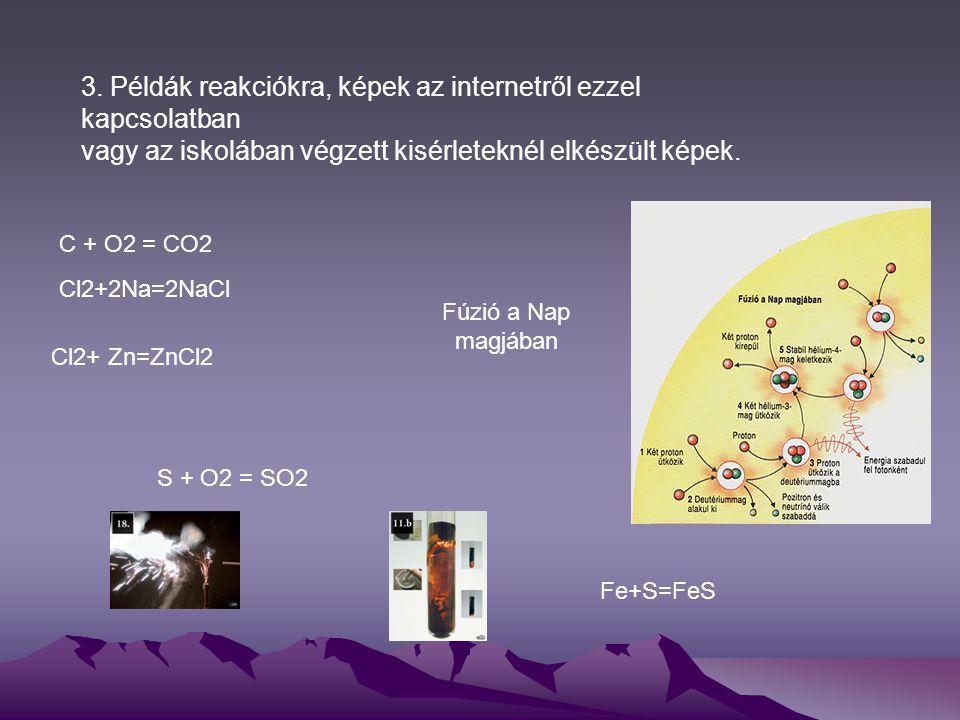 3. Példák reakciókra, képek az internetről ezzel kapcsolatban vagy az iskolában végzett kisérleteknél elkészült képek. S + O2 = SO2 C + O2 = CO2 Cl2+2