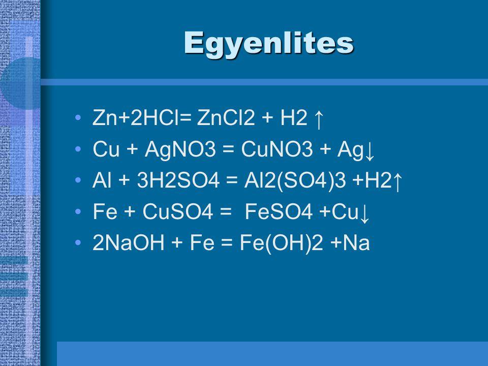 Egyenlites Zn+2HCl= ZnCl2 + H2 ↑ Cu + AgNO3 = CuNO3 + Ag↓ Al + 3H2SO4 = Al2(SO4)3 +H2↑ Fe + CuSO4 = FeSO4 +Cu↓ 2NaOH + Fe = Fe(OH)2 +Na