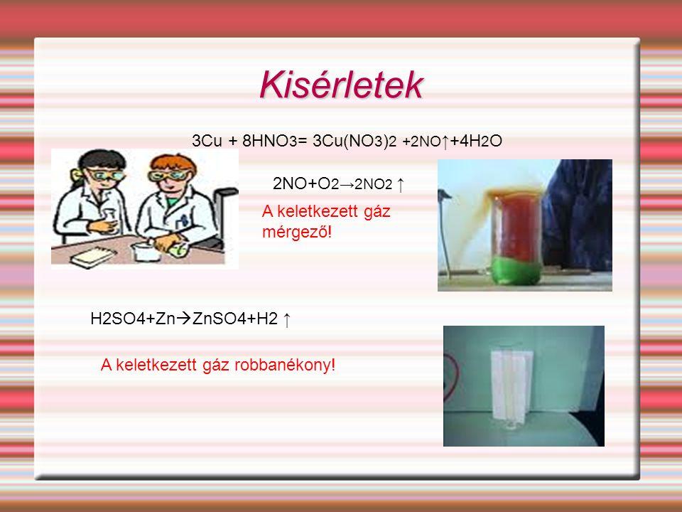 Kisérletek 3Cu + 8HNO 3 = 3Cu(NO 3 ) 2 +2NO ↑+4H 2 O H2SO4+Zn  ZnSO4+H2 ↑ 2NO+O 2→2NO 2 ↑ A keletkezett gáz mérgező! A keletkezett gáz robbanékony!