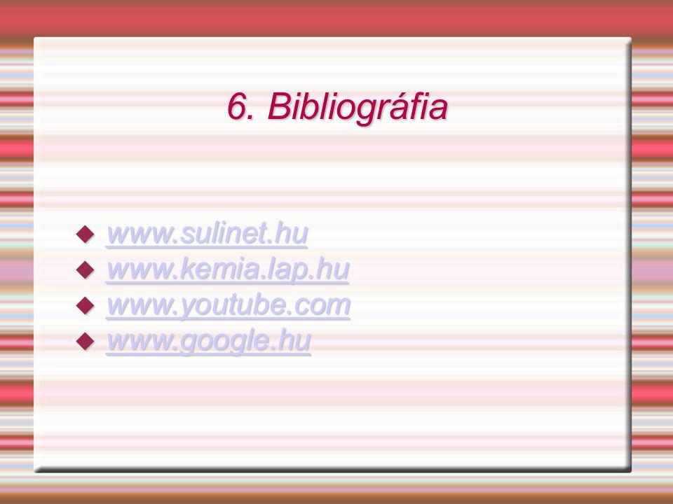 6. Bibliográfia  www.sulinet.hu www.sulinet.hu  www.kemia.lap.hu www.kemia.lap.hu  www.youtube.com www.youtube.com  www.google.hu www.google.hu