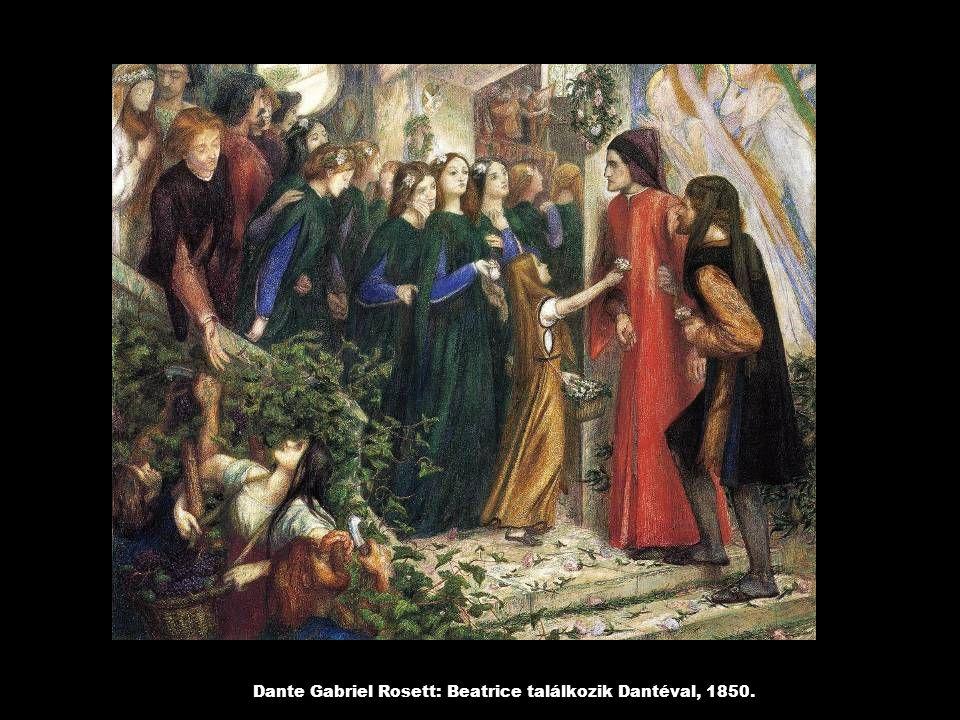 Dante Gabriel Rosett: Beatrice találkozik Dantéval, 1850.