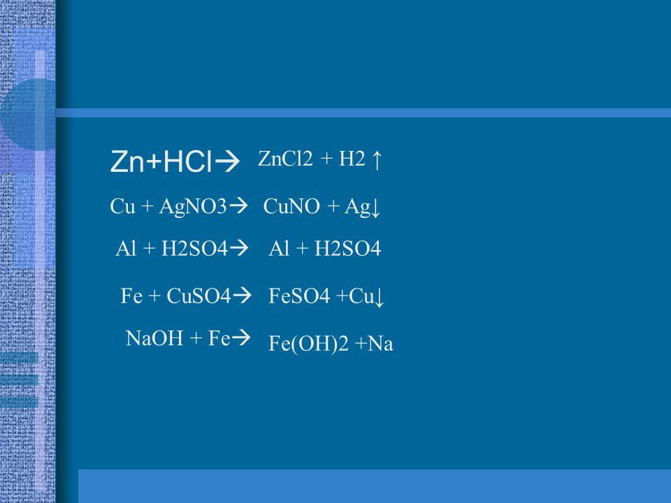 Zn+HCl  ZnCl2 + H2 ↑ Cu + AgNO3  CuNO + Ag↓ Al + H2SO4  Al + H2SO4 Fe + CuSO4  FeSO4 +Cu↓ NaOH + Fe  Fe(OH)2 +Na