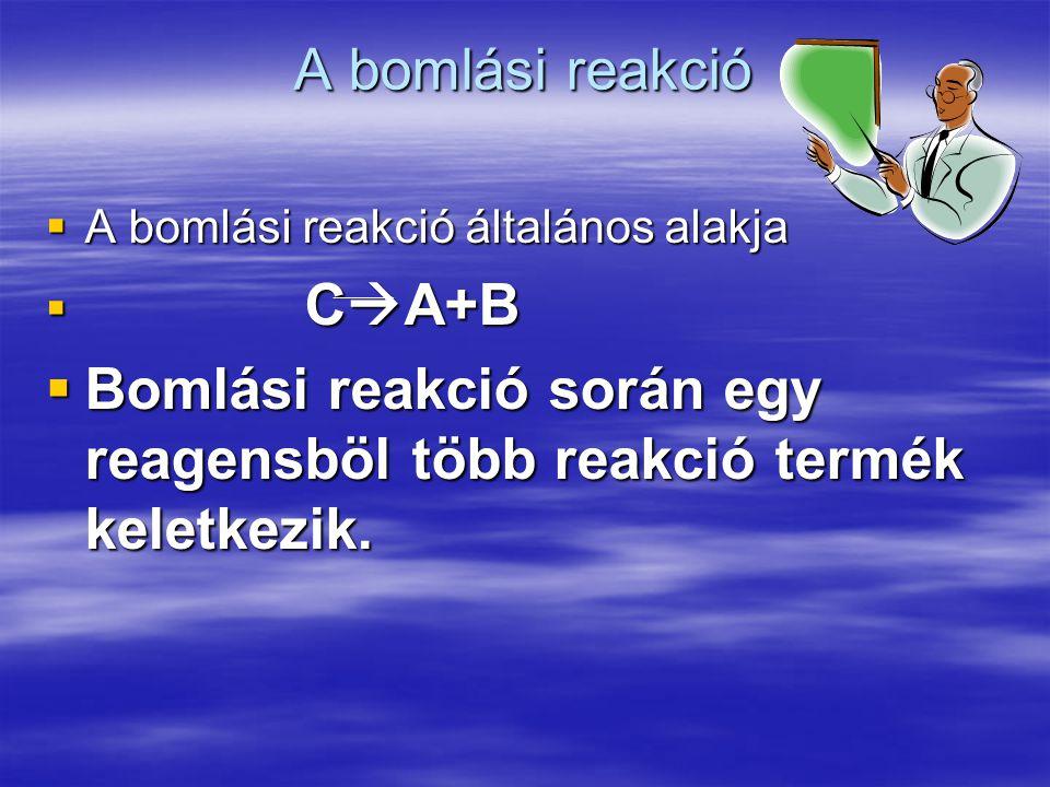A bomlási reakció  A bomlási reakció általános alakja  C  A+B  Bomlási reakció során egy reagensböl több reakció termék keletkezik.