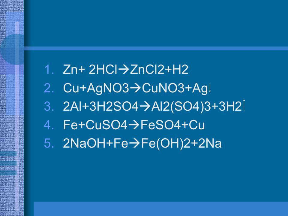 1.Zn+ 2HCl  ZnCl2+H2 2.Cu+AgNO3  CuNO3+Ag 3.2Al+3H2SO4  Al2(SO4)3+3H2 4.Fe+CuSO4  FeSO4+Cu 5.2NaOH+Fe  Fe(OH)2+2Na