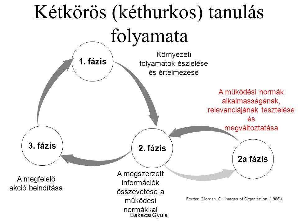 Bakacsi Gyula Kétkörös (kéthurkos) tanulás folyamata Forrás: (Morgan, G.: Images of Organization, (1986)) 3.